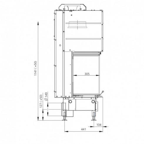 Бак для воды настенный, вертикальный, нерж304, 53л (Вулкан)