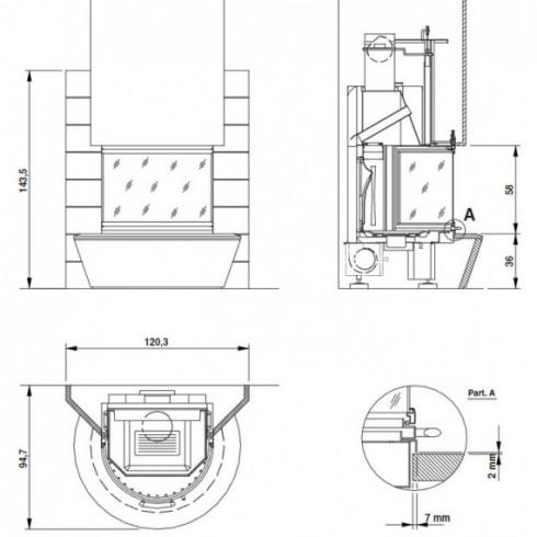 Печь Bella Rosa 4 Viva ECOplus, creme-weiß, рамка хром + комплект труб (Hark)
