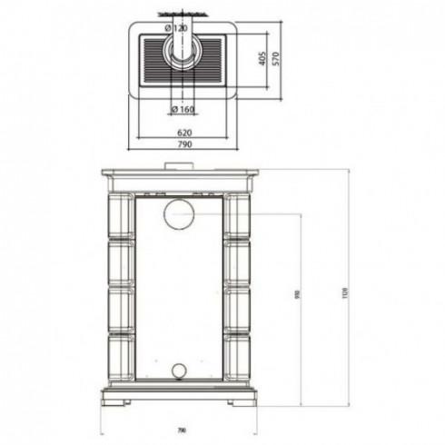 Печь-плита Deva II 100 H, гидроконтур, чугун, хром, бордовая (Hergom)