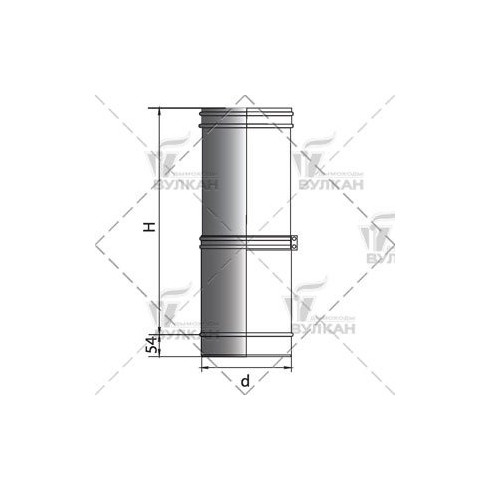 Тройник VOG 45° овал 100х200 на d150.7 (Вулкан)