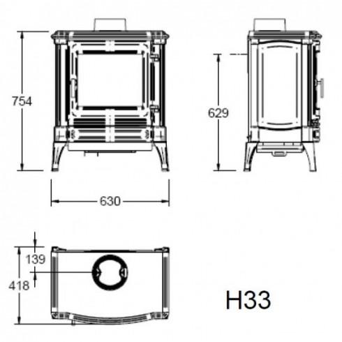 Фронтальное стекло дверцы для печей серии K1000 (Keddy)